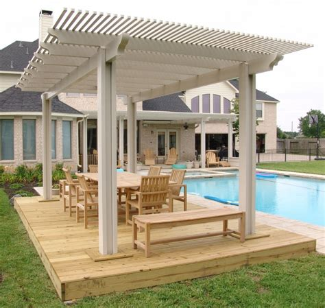 exterior grey wooden frame pergola with white sliding