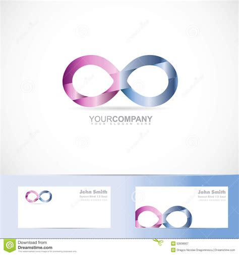 Infinity Card Template by Infinite Infinity 3d Logo Design Concept Stock Vector