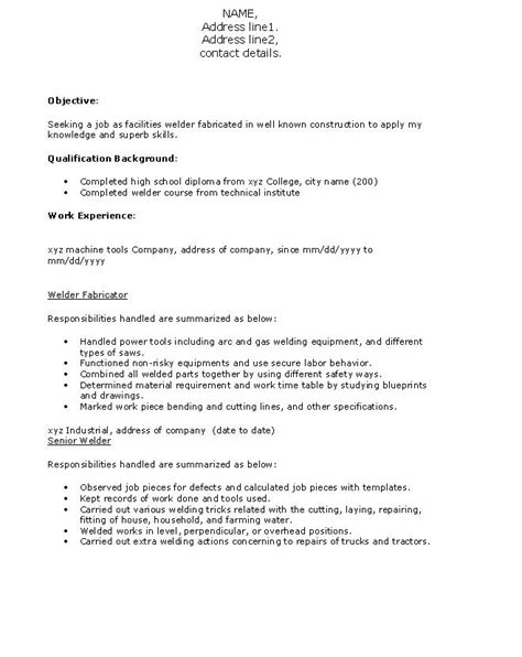 Resume Objective Welder Fresh And Free Resume Sles For Resume Format For Welder