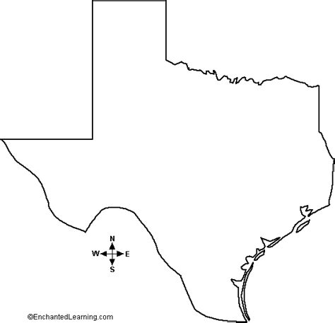 map of texas outline outline map texas enchantedlearning