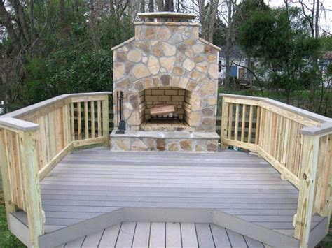 outdoor fireplace on wood deck outdoor furniture design