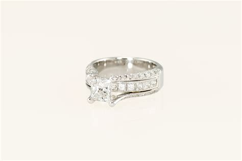 custom platinum princess cut engagement ring w