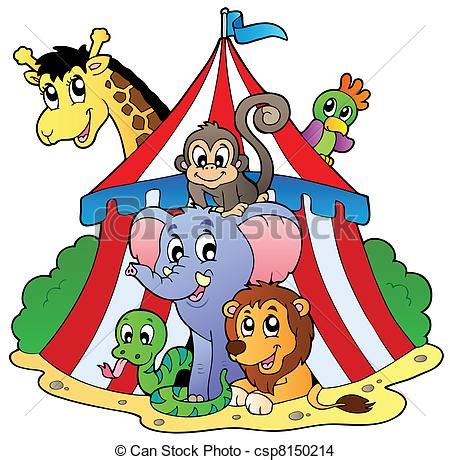 eps vector of various animals in circus tent vector