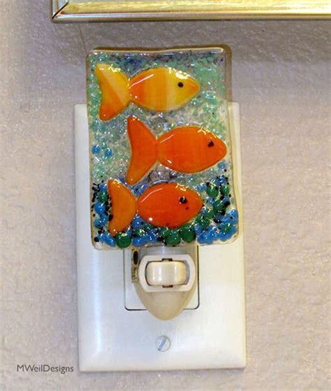 fused glass night lights fishes in water fused glass night light fused glass