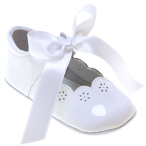 baby white patent leather shoes with ribbons