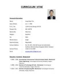 Resume Info by Aung Myat Thu Cv Resume Form
