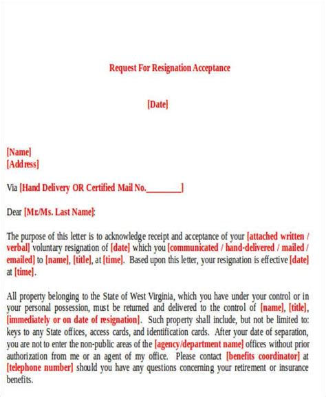 resignation letter format ipage