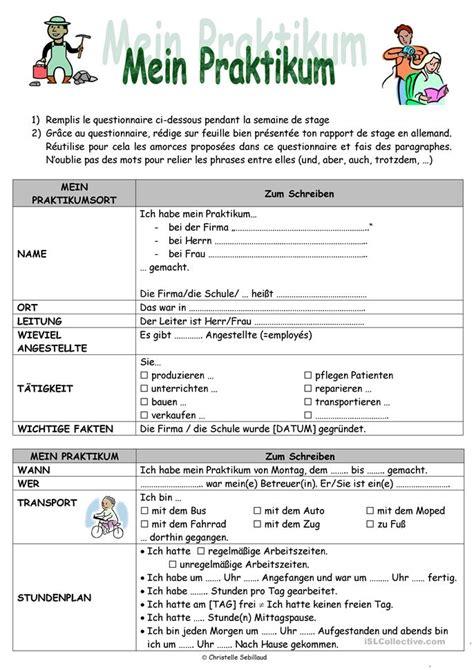 Praktikum Vorbericht Vorlage 33 Kostenlos Daf Beruf Arbeitsbl 228 Tter