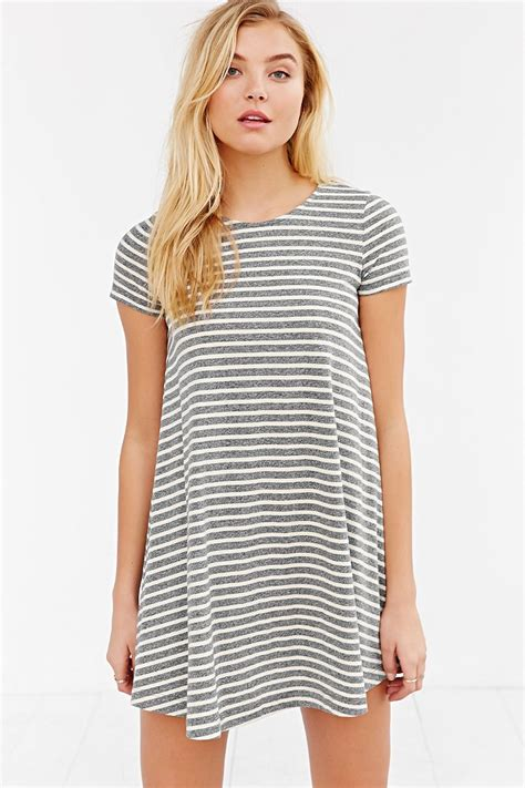 T Shirt Gap Shangai Tees bdg striped sleeve swing t shirt dress in black lyst