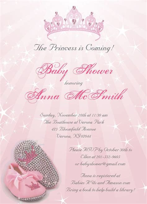free printable princess baby shower invitations
