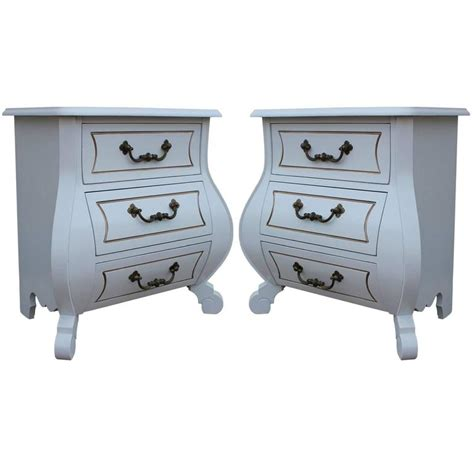 Bombay Chest Nightstand White Pair Of Modern Bombay Chest Nightstands With Brass Hardware At 1stdibs