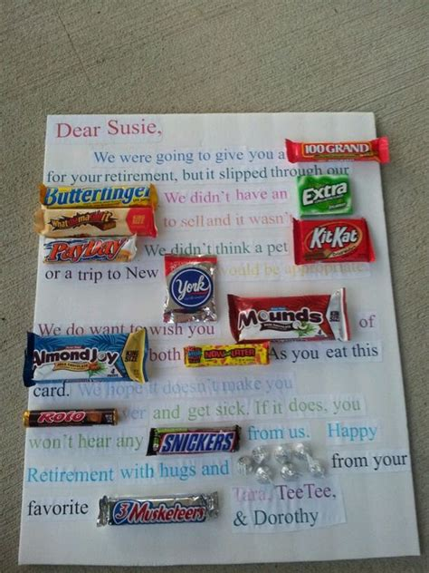 retirement candy bar card pinterest cakes things made