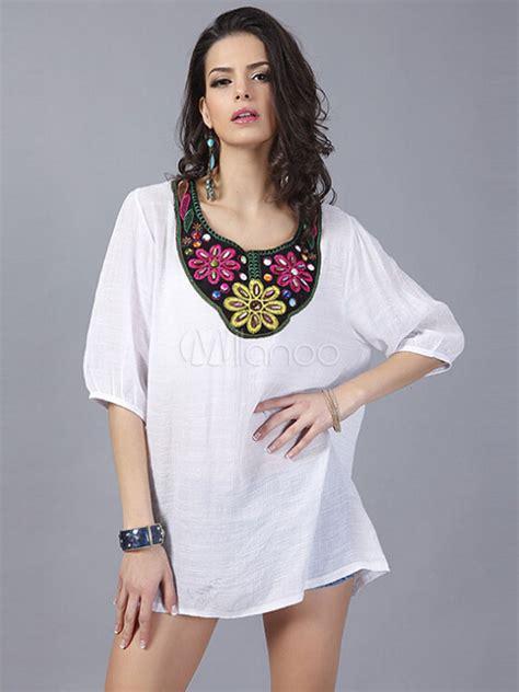 blusas de lino para mujer blanco estado floral superior bordada algod 243 n blusa de