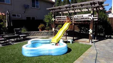 backyard slide homemade backyard water slide summer fun youtube
