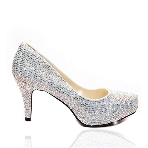 Cristal Shose lemonade shoes silver 3 inch sole from