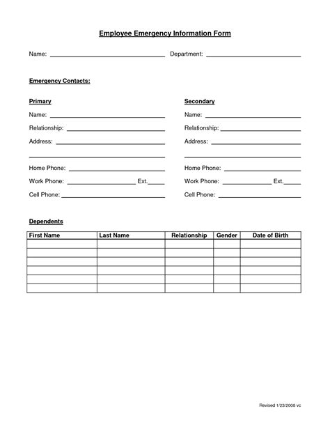 employee emergency form employee forms pinterest