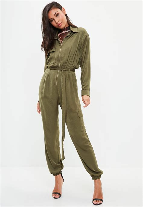 missguided khaki satin utility jumpsuit in green lyst