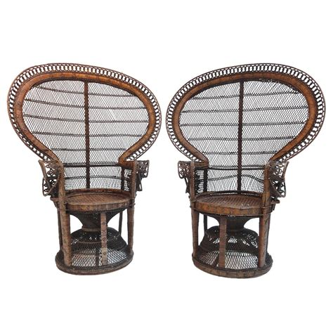 Rattan Peacock Chair by Pair Of Iconic 1970s Emmanuelle Sylvia Kristel Wicker