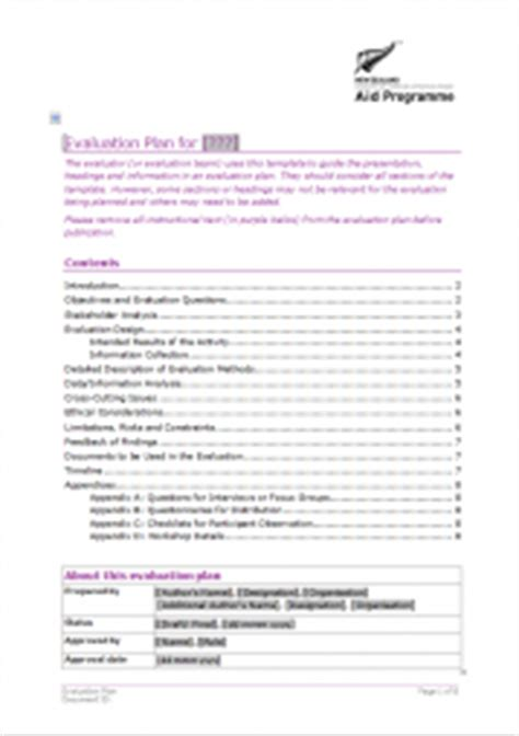 aid program template evaluation plan template better evaluation