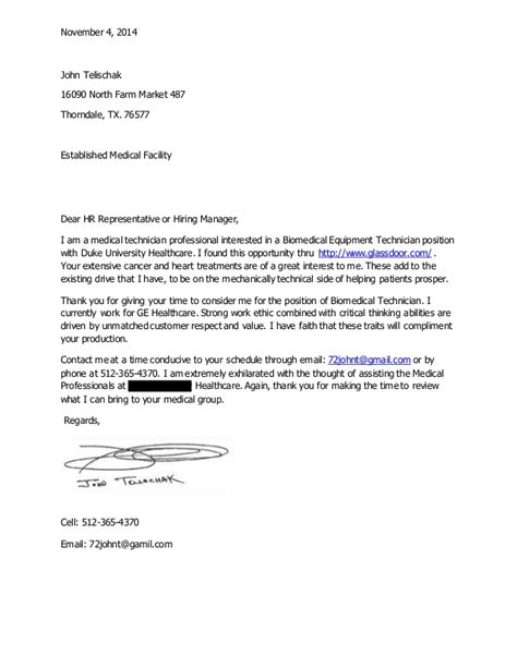 Biomedical Technician Cover Letter by Telischak Cover Letter