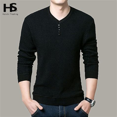 Sweater Hoodie Casual Pria 322 64 solid color pullover v neck sweater sleeve shirt mens sweaters wool casual dress