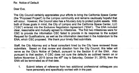 Response Letter To Notice Of Default Lompoc Gadfly Csc City Quot Notice Of Default Quot Letter And Csc Response
