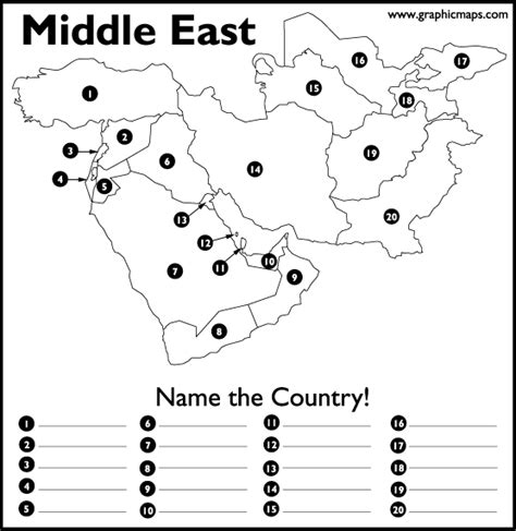 printable maps quiz can you name the countries of the arguable middle east