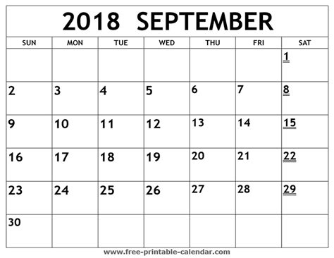 Calendar Sept 2018 Printable 2018 September Calendar