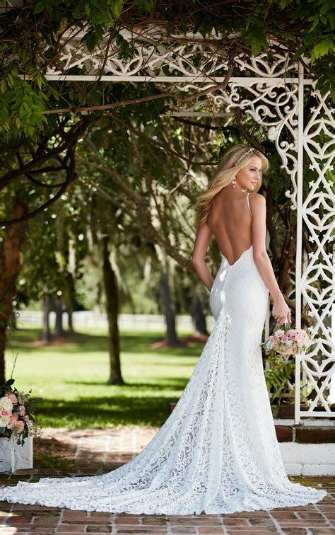 graphic lace wedding dress  straps martina liana