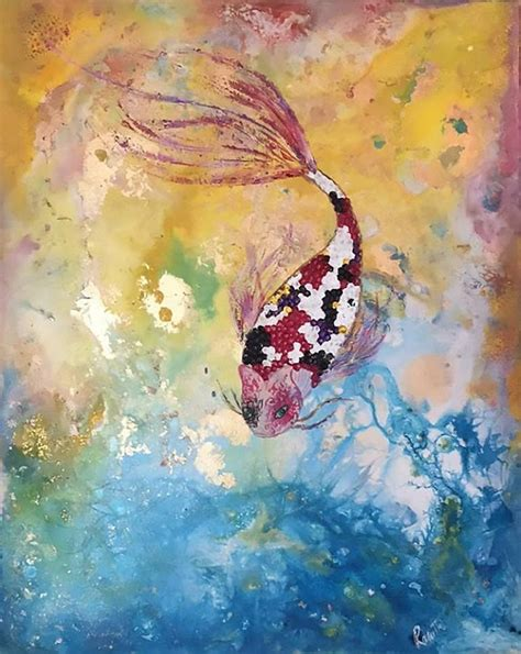 acrylic paint japanese japanese koi fish painting by rasvanthi shriya