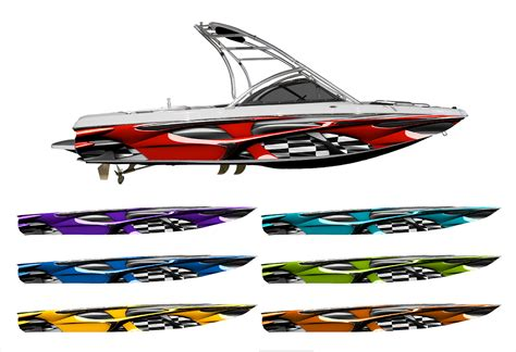 vinyl wrap bottom of boat vandal checkered racing flag boat wrap customized for
