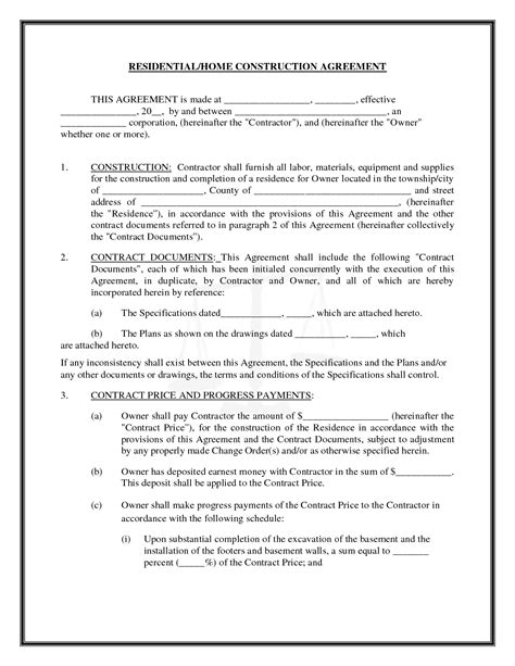 Residential Home Construction Agreement By Readybuiltforms Construction Agreement Real State Residential Construction Contract Template