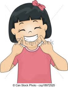 smile clipart illustration of a gesturing a smile