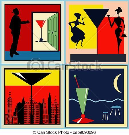 retro cocktail clipart clip vektor etiketten retro cocktail a satz