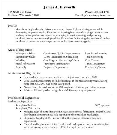 Production Manager Sle Resume by Product Manager Resume 9 Free Sle Exle Format Free Premium Templates