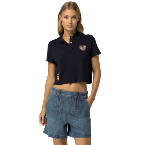 Hoodie Crop Polos Fleece Wanita Size M womens hilfiger clothing cotton pique cropped polo