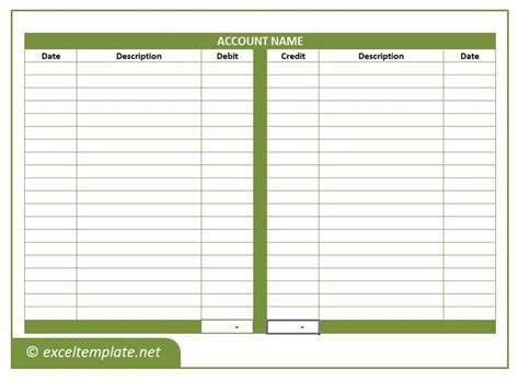 T Accounts Excel Template by General Ledger Excel Templates