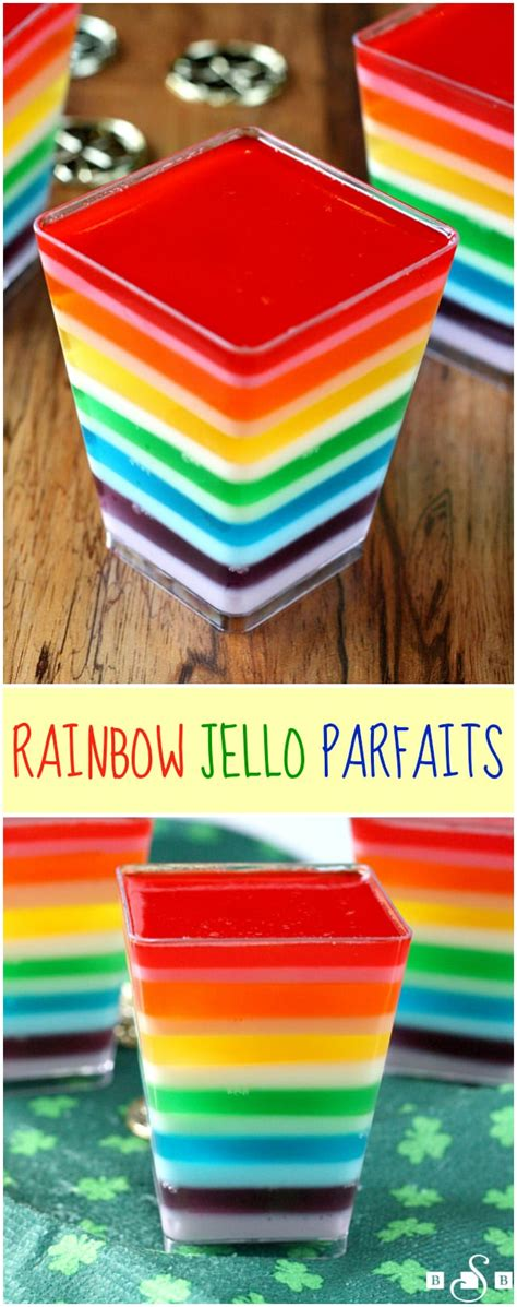 Rainbow Butter rainbow jello parfaits butter with a side of bread