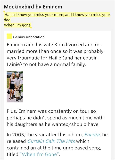 eminem mockingbird meaning hailie i know you miss your mom and i know you