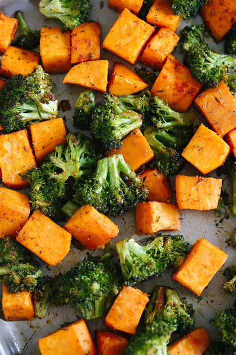 perfectly roasted broccoli amp sweet potatoes eat yourself skinny