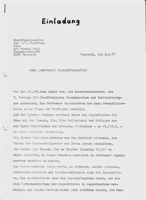 Muster Einladung Besuch Offenes Jugendzentrum Bayreuth 1974 82 Revival Zum 40 Jahrestag Die Bedeutung Des