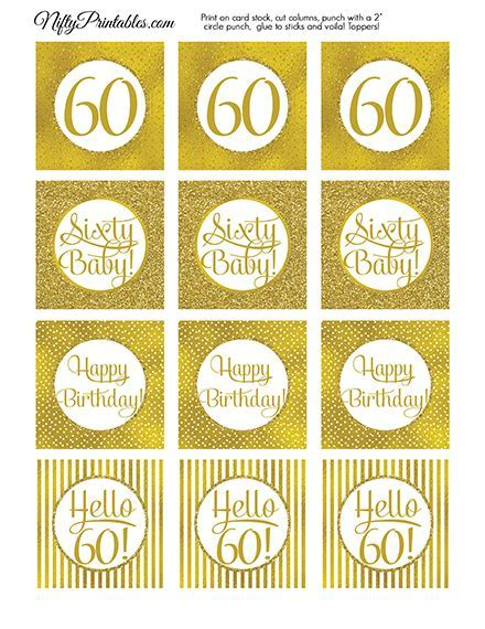 60th Birthday Toppers   Gold Cupcake Toppers   Nifty