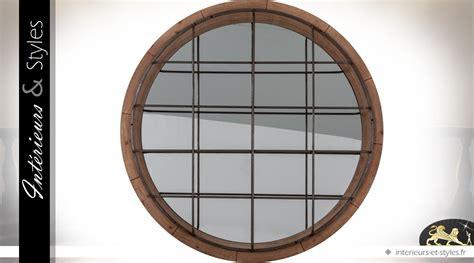 Grand Miroir Industriel by Grand Miroir Rond Industriel En Bois Et M 233 Tal 216 122 Cm