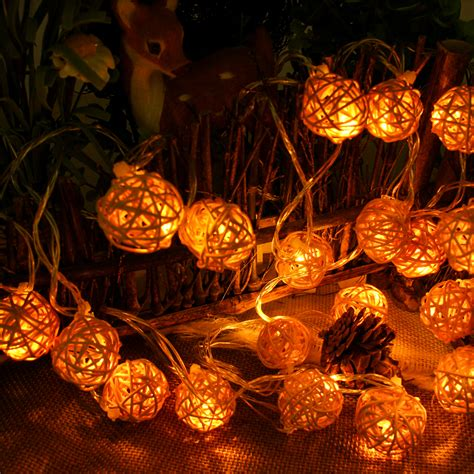 rattan string lights connectable 5m 20leds lights indoor outdoor