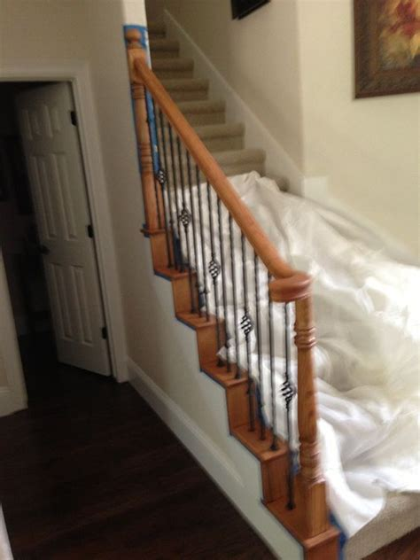 how to restain stair banister if you have a golden oak stair rail that ages your house