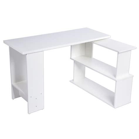 study table l l shape white corner pc computer office desk home study