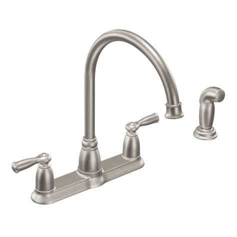 Banbury Faucet by Moen Ca87000 Chrome High Arc Kitchen Faucet With Side