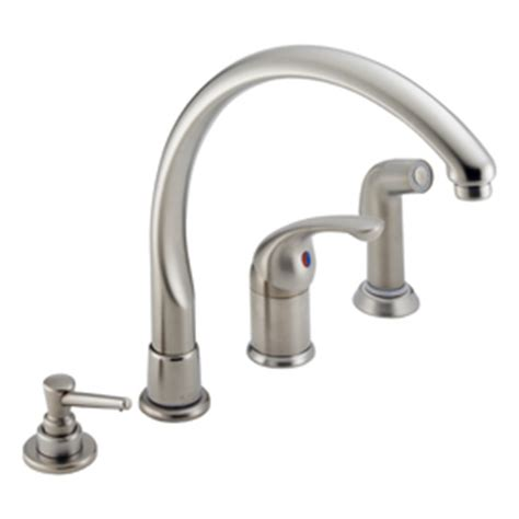 delta waterfall kitchen faucet shop delta waterfall stainless 1 handle high arc kitchen faucet with side spray at lowes
