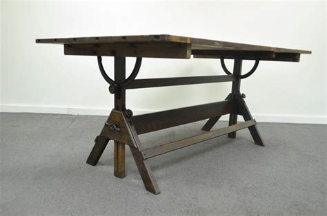 Large Antique American Industrial Oak And Cast Iron Antique Drafting Tables For Sale