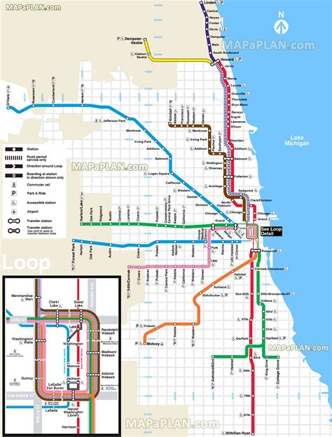 chicago map with lines chicago map el l subway metro